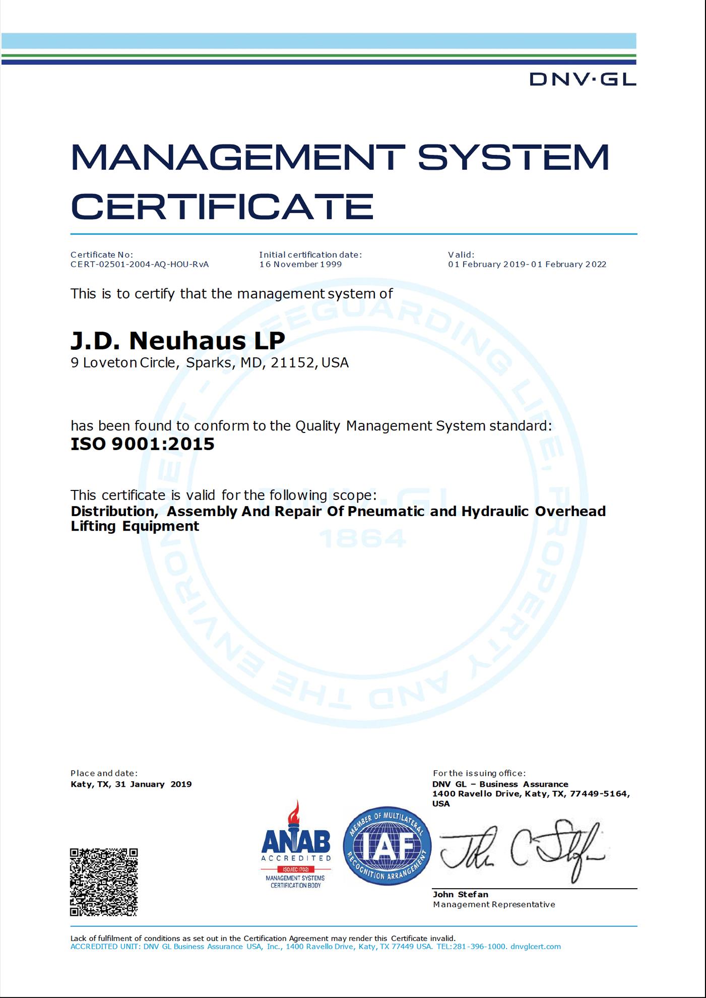 JD Neuhaus LP ISO 9001 2015