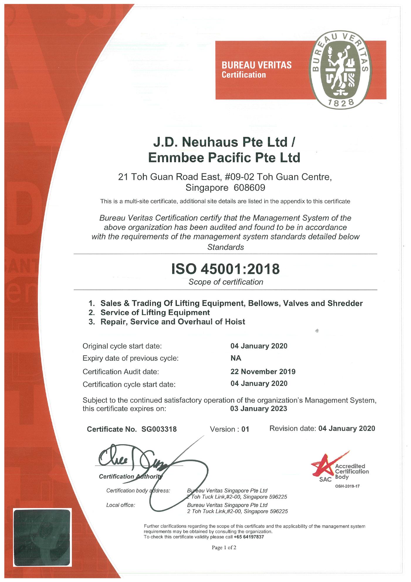 JD Neuhaus Pte Ltd ISO 45001 Certification